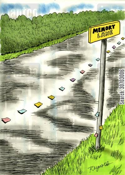 memory lane cartoon humor: Memory Lane (lined with post-its).