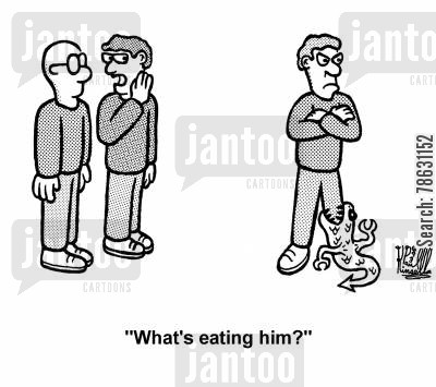 literal cartoon humor: 'What's eating him?'