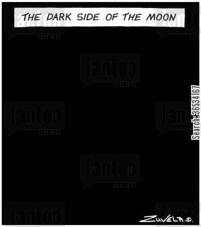 space travelers cartoon humor: The dark side of the Moon