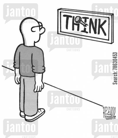 irony cartoon humor: THINK (sign nailed inappropreatly to wall)