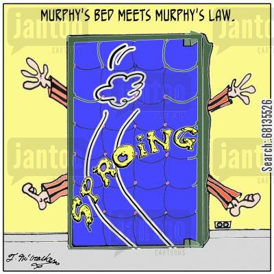 sucker punch cartoon humor: Murphy's Bed meets Murphy's Law.