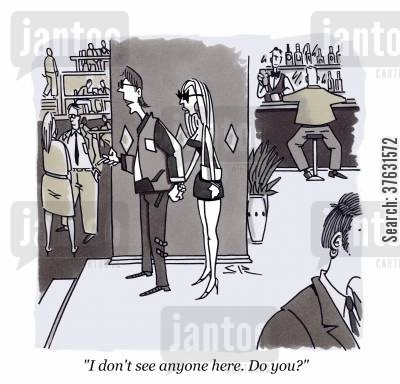 famous people cartoon humor: 'I don't see anyone here. Do you?'