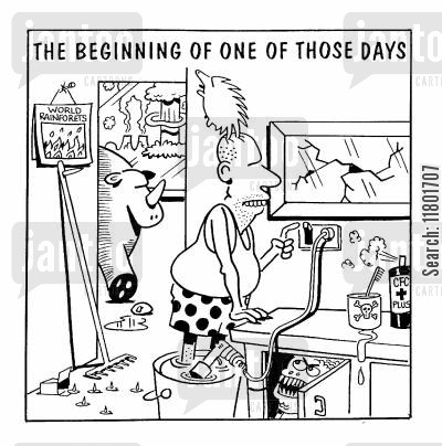typical cartoon humor: The Beginning of One of Those Days