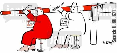 rivalry cartoon humor: Men painting red and white.
