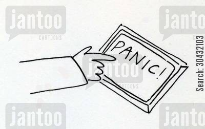 catastrophe cartoon humor: Panic Button
