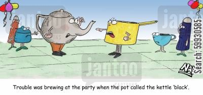 tea parties cartoon humor: Trouble was brewing at the party when the pot called the kettle 'black'.