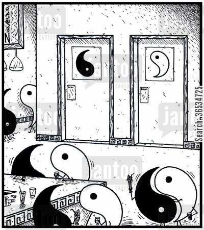 bog cartoon humor: Male and Female Toilets for Yins and Yangs