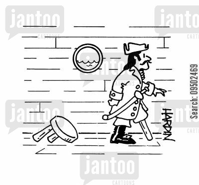 stools cartoon humor: Pirate steals stool leg for his own.