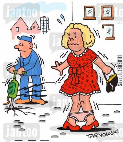 knickers cartoon humor: Blonde loses her panties because of a pneumatic drill.