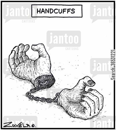 cuffs cartoon humor: Handcuffs.