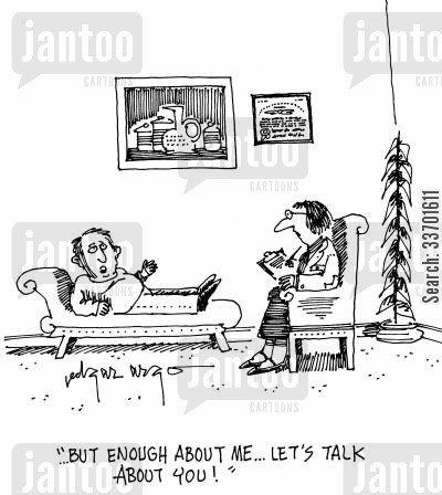 good listeners cartoon humor: 'But enough about me...Let's talk about you!'