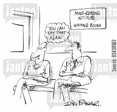 spiritualist cartoon humor: Mind reading institute - 'You can say that again!'