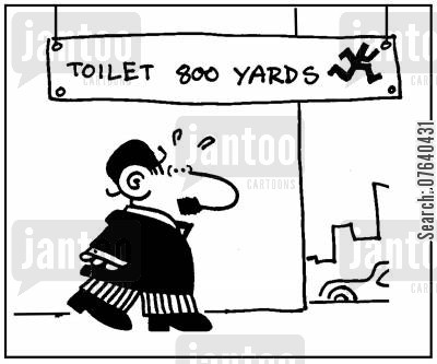 public lavatories cartoon humor: 'Toilet, 800 yards.'