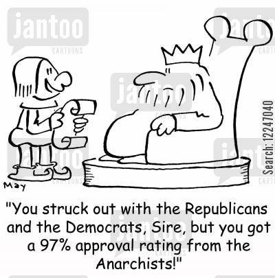 anarchists cartoon humor: 'You struck out with the Republicans and the Democrats, Sire, but you got a 97 approval rating from the Anarchists!'