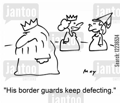defect cartoon humor: 'His border guards keep defecting.'