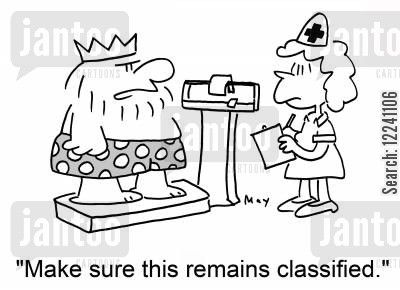 classified information cartoon humor: 'Make sure this remains classified!'