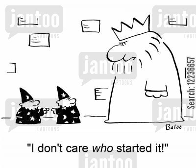 spell gone wrong cartoon humor: 'I don't care WHO started it!'