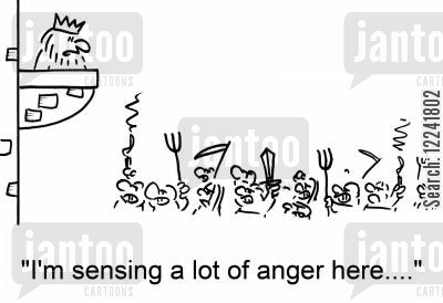 demonstrate cartoon humor: 'I'm sensing a lot of anger here....'
