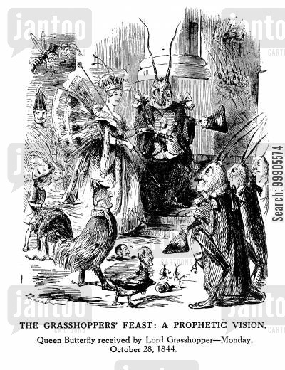 butterfly ball cartoon humor: The Grasshopper's Feast: A Prophetic Vision
