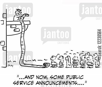 public service announcement cartoon humor: 'And now, some public service announcements....'
