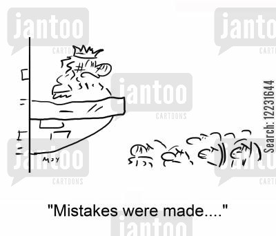 civilian cartoon humor: 'Mistakes were made....'