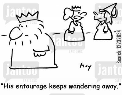surrounded by cartoon humor: 'His entourage keeps wandering away.'