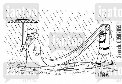 rainy weather cartoon humor: The King In The Rain.