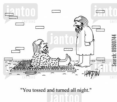 restless night cartoon humor: 'You tossed and turned all night.'
