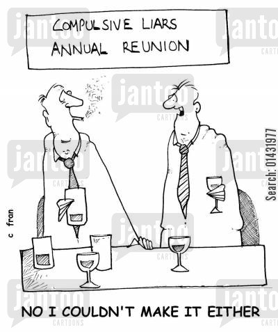 annual reunion cartoon humor: Compulsive liars annual reunion: No, I couldn't make it either.