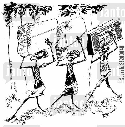 stereo cartoon humor: Carrying burdens - Ghetto blaster