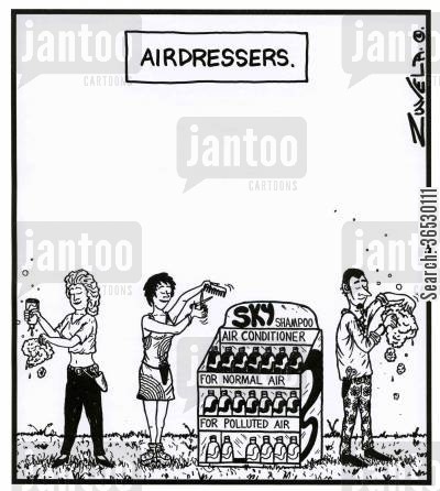 hair dressers cartoon humor: Airdressers.