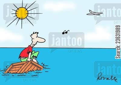 rafts cartoon humor: Shipwrecked.