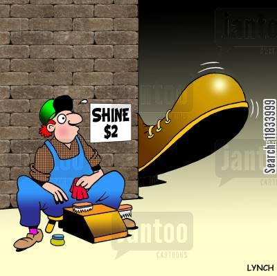 shoe scrubs cartoon humor: Shoe Shine