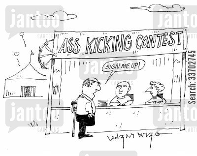 signs up cartoon humor: 'Ass kicking contest.'