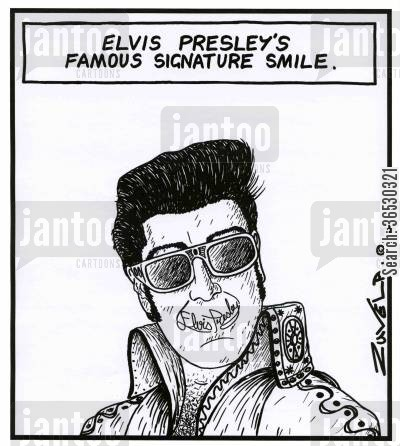 stardom cartoon humor: Elvis Presley's famous signature smile.