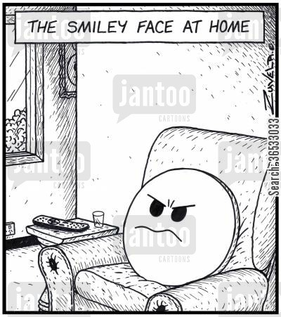 good mood cartoon humor: The Smiley Face at home.