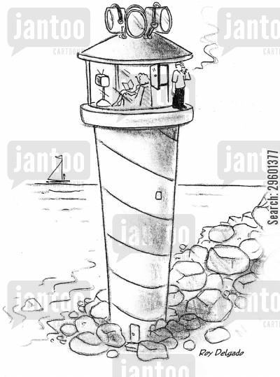 buildings cartoon humor: Man going out for a cigarette from a lighthouse.