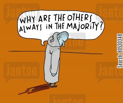 alone cartoon humor: 'Why are the others always in the majority?'