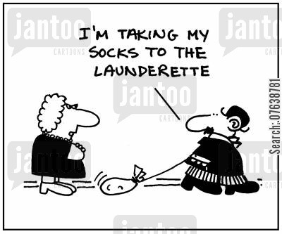 dirty washing cartoon humor: 'I'm taking my socks to the launderette.'