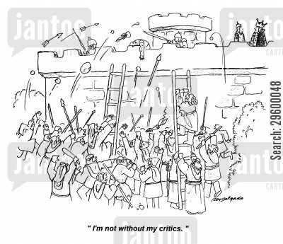 critic cartoon humor: 'I'm not without my critics.'