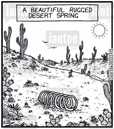 springs cartoon humor: A beautiful rugged desert spring.