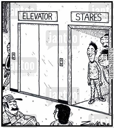 elevators cartoon humor: Elevator Stares.