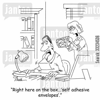 licking envelopes cartoon humor: 'Right here on the box...'self adhesive envelopes'.'
