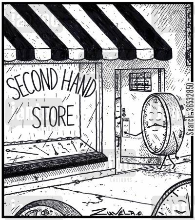 charity shop cartoon humor: Second Hand Store a clock entering a store for a new second hand