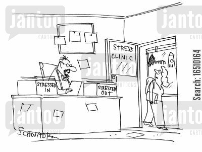 relaxation cartoon humor: Stress Clinic. Filing trays read 'stressed in' and 'stressed out'.