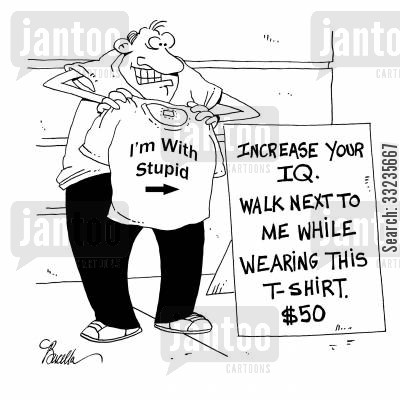 tshirt cartoon humor: Increase your IQ with an 'I'm with Stupid' T-shirt.
