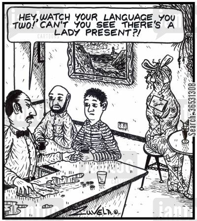 cursing cartoon humor: 'Hey, watch your language you two! Can't you see there's a lady present?!'
