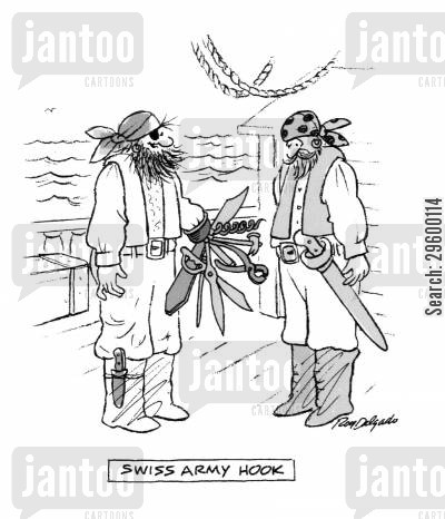 amputee cartoon humor: Swiss Army Hook.