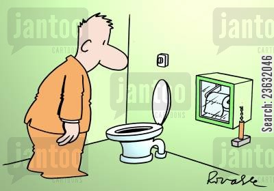 toilet humor cartoon humor: WC problem.