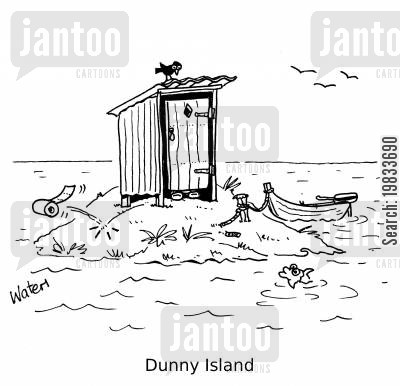 outside toilet cartoon humor: Dunny Island